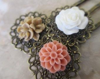Hair Accessories, Pretty Bobby Pins, Flower Hair Pins, Flower Bobby Pins Set in White Tan & Salmon
