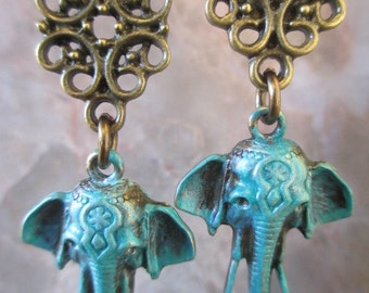 Bronze Ganesha Lucky Elephant Turquoise Pantina Filigree Artisan Handmade Earrings