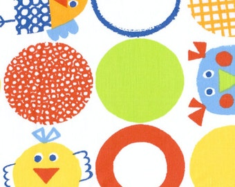 Fabric white red yellow grey blue green rounds fun birds Cotton Fabric Kids Fabric Scandinavian Design Scandinavian Textile