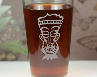 Soul Man Tiki with goatee Etched Sandblasted Pint Glass