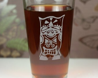 Island Tiki with double goatee Etched Sandblasted Pint Glass