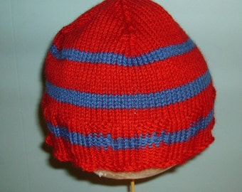 Red wool hat with blue stripes