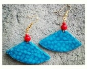 Teal small unique african tribal print boat shaped earrings