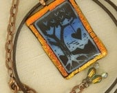 Love Grows - Blue Pendant Necklace – Fused Glass - Copper Dichroic Glass - Painted Glass - Leather Cord – Adjustable Length Copper Chain