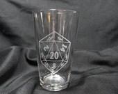 Gamer Glass - d20 Inspired Pint Glass