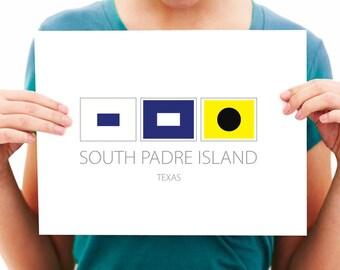 South Padre Island - Texas - Nautical Flag Art Print