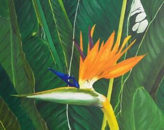 "Bird of Paradise Flower Oil Painting, Original Oil Painting - ""Paradise Found"" (30"" x 40"")"