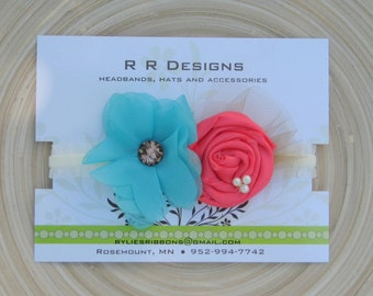 Turquoise, Coral and Cream Headband