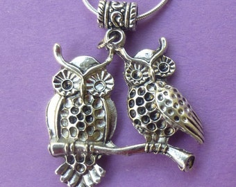 Clearance ~ Double Owl Charm Necklace Chain Included ~ Perfect BFF Piece