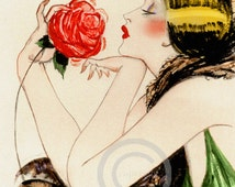 Art Deco Spanish Flapper Girl Print, Holding a Rose, Jazz Age, Vamp, Boudoir, Gorgeous Lady, Giclee Fine Art Print ,11x14,1920s