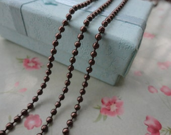 30pcs--27.5 inches 2.4mm metal ball chain necklace with connectors--shiny brown color--MN3016-30