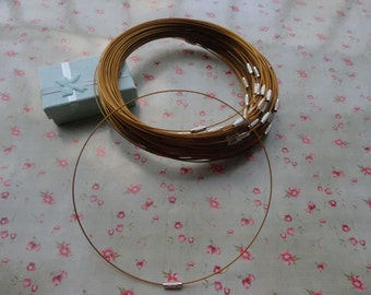 30pcs 18 inch 1mm Dark Gold stainless steel necklace cords/wires with stainless steel screw clasps--MN3062-30