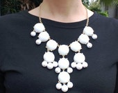 White Bubble Necklace, Handmade Beadwork Bib Necklace,Statement Necklace,Beautiful & Fashion For Autumn Dressing