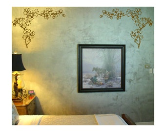 "22"" Floral Corner Ornaments Wall Decals sticker window art room decor graphics  GA16.22.2"