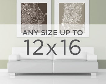 """12x16"""" Cityscape Wall Art: Choose your City"""