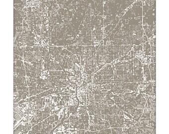 Indianapolis Cityscape / Indiana Map Art Grad Gift / 8x10 Digital Print / Dorm Decor / Choose your Color