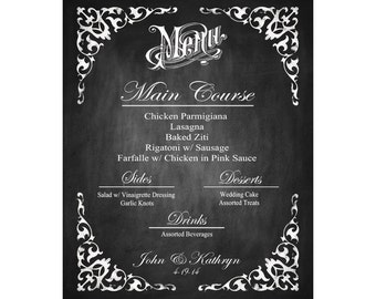 Personalized Menu Printable Poster with Bride & Groom Names - INLCUDES table menus also - DIY - Elizabeth Collection