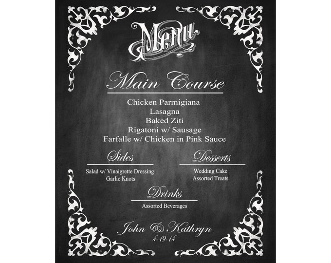 Personalized Menu Printable Poster with Bride & Groom Names - INLCUDES table menus also - DIY - Elizabeth Collection