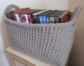 Large Storage Bin, Storage Basket, Crocheted Box, Rectangle, Many uses - DVDs, Video Games, Books, Toilet Tank, Kitchen, Diapers, Toys, etc.