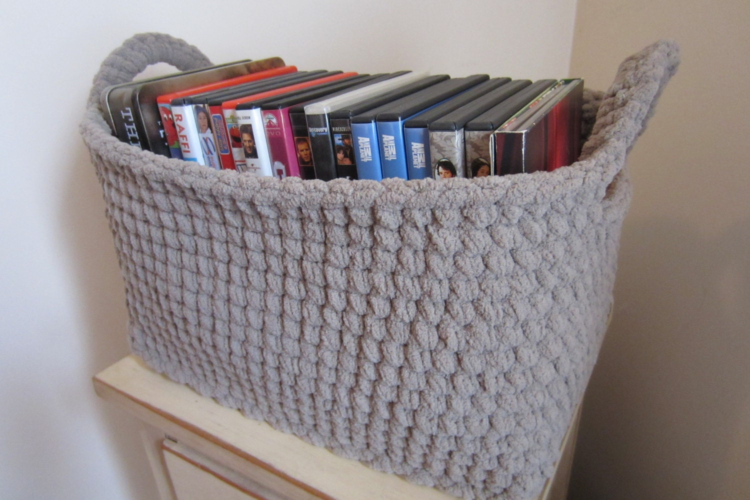 Large Storage Bin Storage Basket Crocheted Box Rectangle