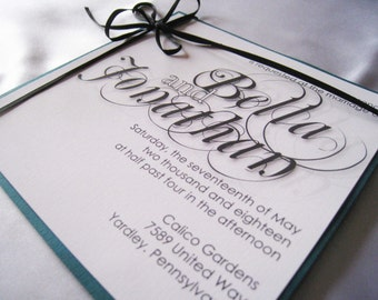 Belgrave Chic - Black and Teal Wedding Invitation