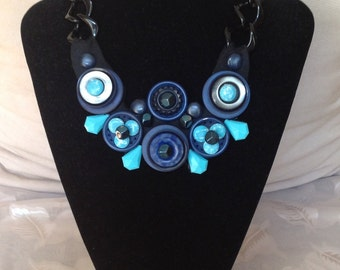 Vintage buttons and turquoise necklace