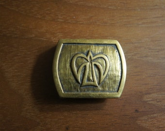 "Vintage 1980's Cast Bronze Belt Buckle for 1"" belt by JEC with stylized cross fleur de lis Wonderful shape and Patina"