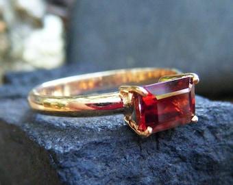 GARNET engagement ring, emerald cut red garnet, alternative engagement ring, garnet ring gold, bridal ring, promise ring, gold garnet ring