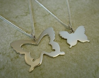 Sterling Silver Mother & Daughter Butterfly Pendants (Set)