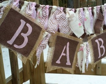 Shabby Chic Girl Rag Garland Rustic Decor Baby Photo Prop Baby Shower Decor Childrens Room Decor