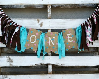 Shabby Chic Birthday Rag Garland, Birthday Banner, Fabric Banner, Highchair Birthday Decoration, Birthday Photo Prop, Birthday Decoration