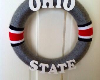 Ohio State Yarn Wreath, Buckeyes Wreath