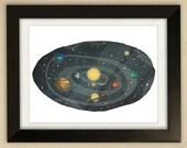 Solar System Illustration - Children's Art Print