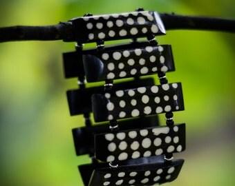 Black and White Polka Dot Bracelet from Kenya