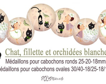 Medallions digitals cabochons * cat girl and white orchids *.