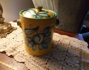 Vintage Turquoise & Yellow Ceramic Ice Bucket