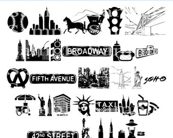 New York City Clip art INSTANT DOWNLOAD Manhattan, Taxi Cab Graphics Clipart Digital Clip Art Scrapbooking Personal and Commercial Use