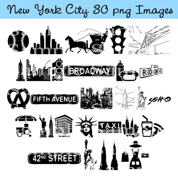 New York City Clip art INSTANT DOWNLOAD Manhattan, Taxi Cab Graphics ...