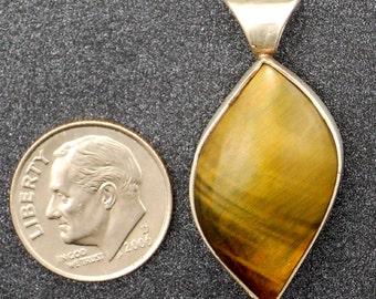 Handmade Tigers Eye Sterling Silver Pendant