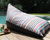 Beanbag stripey thick cotton in multicoloured and charcoal stripes with charcoal contrast backing