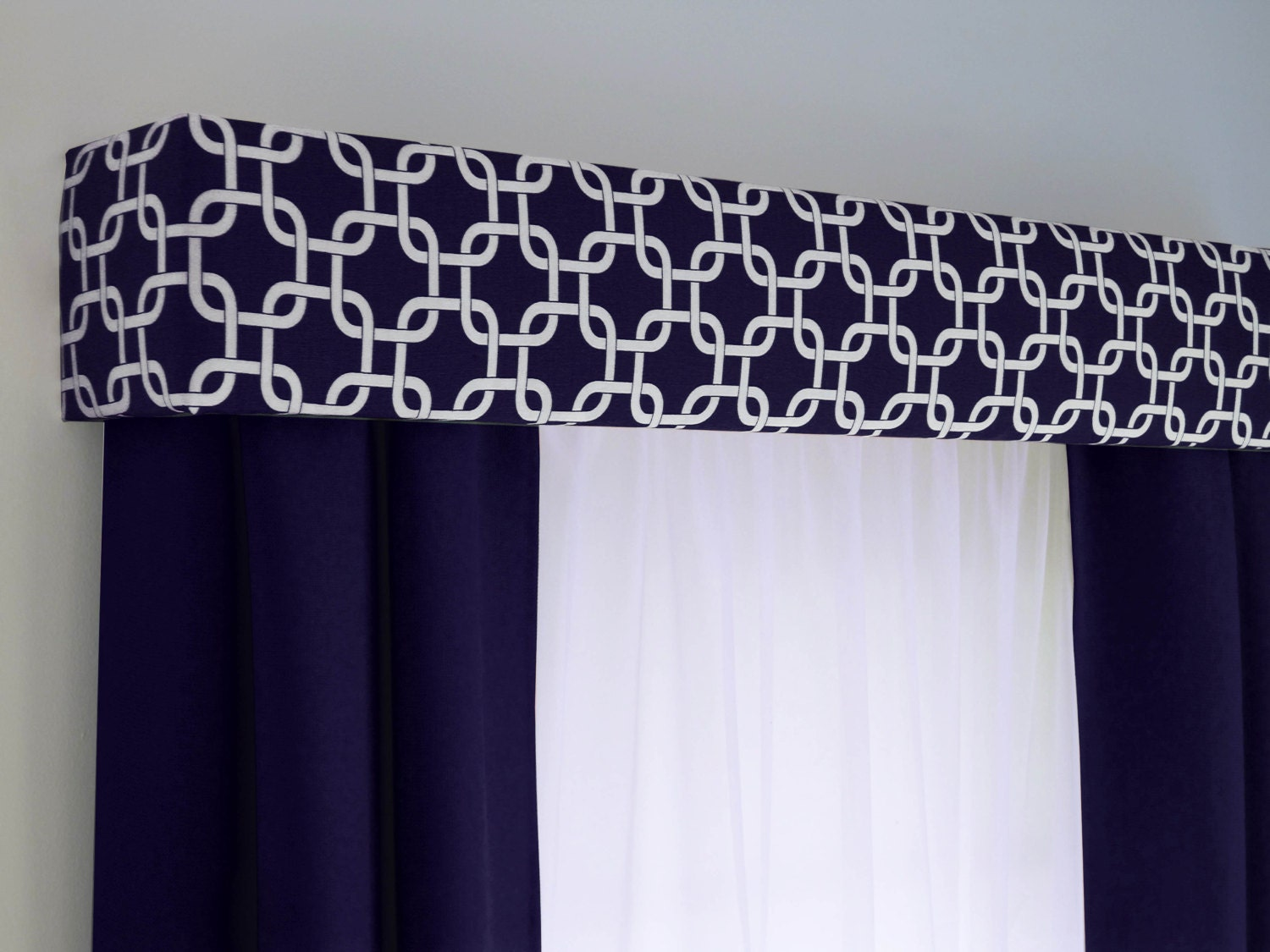 navy blue geometric cornice board valance window treatment