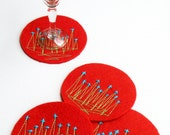 Red Circle Felt Coaster Set of 4... Hand Made With Love...