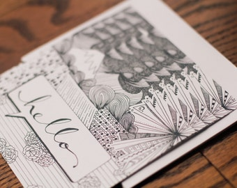 """Illustrated """"Hello"""" Notecards (SET OF 5) - Cards w/ Envelope"""