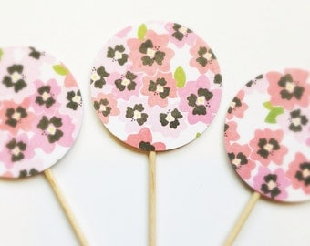 CORAL PINK Vintage FLORAL Party Pick Cupcake Toppers (12ct)
