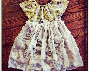 green floral frilly dress {girls size 6}