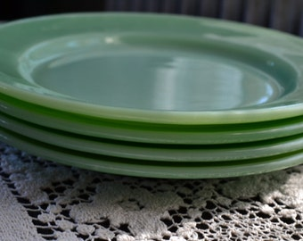 1940s Jadeite Dinner Plates Fire King Oven Ware Lot Set of 4 G306 Heavy Restaurant Ware Dinner Plates Jadite Dishes Minty NM Retro Kitch