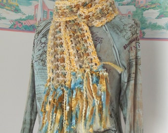 Honeycomb Crochet Scarf Yellow Aqua Tan Soft Long Lightweight