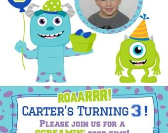 Monster Inc. Birthday Invitation (Boy)