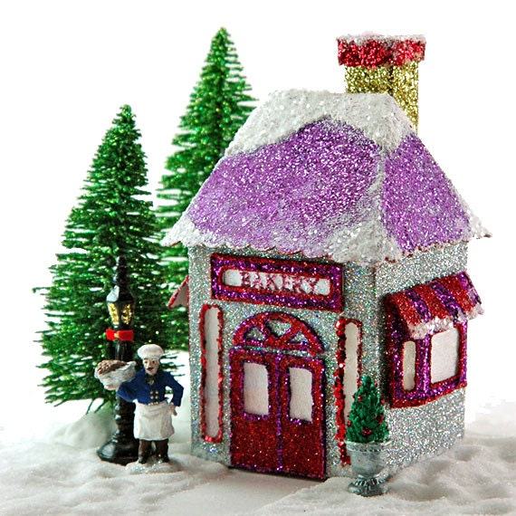 miniature christmas village bakery printable pdf template