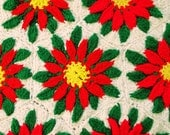 Vintage 70s Poinsettia Flowers Blanket Throw Wall Hanging Hand Crocheted
